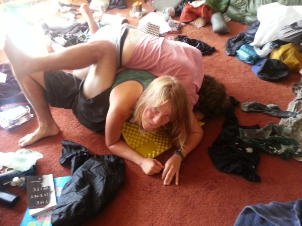 Hiker pile on AM's floor.