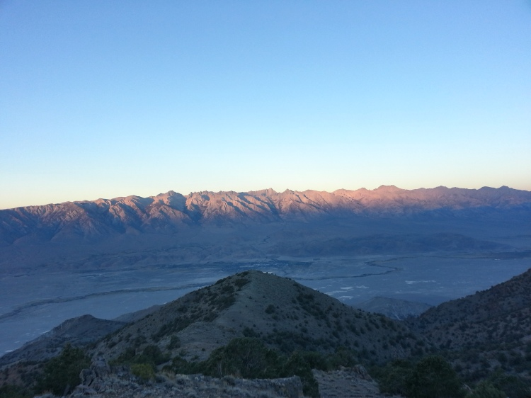 Morning light hitting the High Sierras, as seen from the crest of the Inyo Mountains