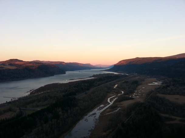 The Columbia River Gorge at Sunset