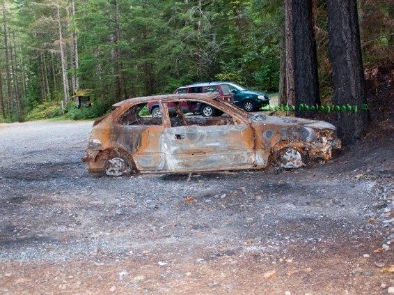 Finn's burned car