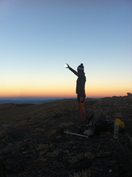 On the crest of the Inyo Mountains, grabbing the moon. L2H 2014